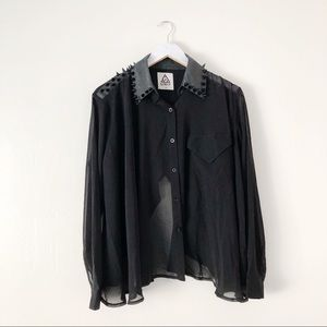 UNIF Caution Spiked Blouse in Black